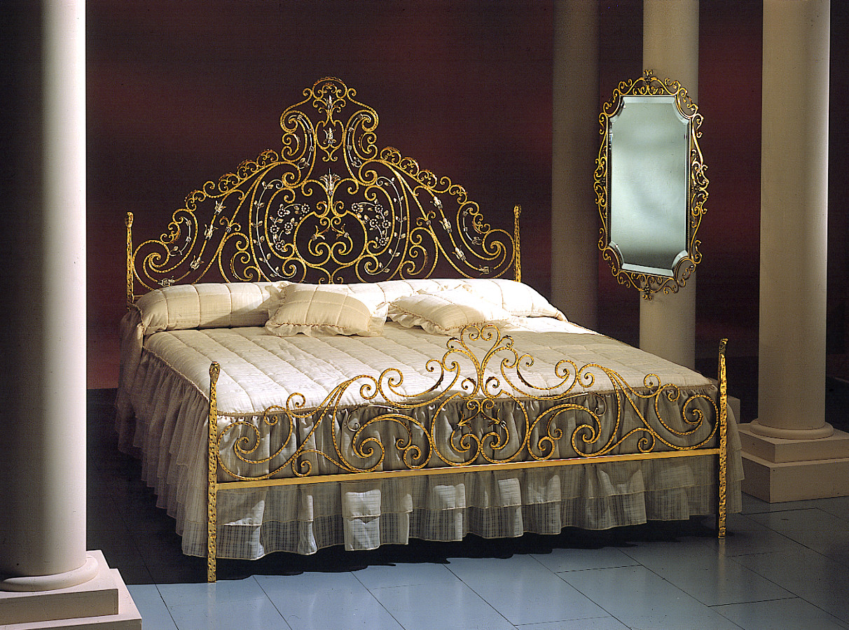 Wrought-iron-bed-worked-and-decorated-by-hand-Customizable-on-design-and-size